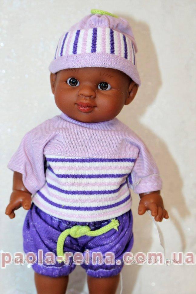 Лялька пупс мулат в бузковому, 21 см