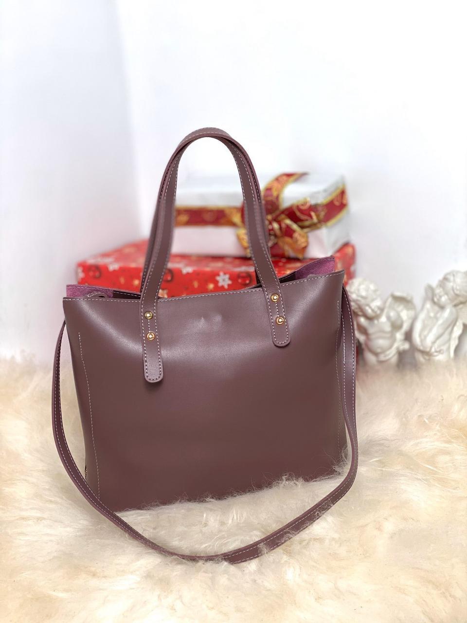 Женская пудровая городская вместительная сумка шоппер молодежная экокожа