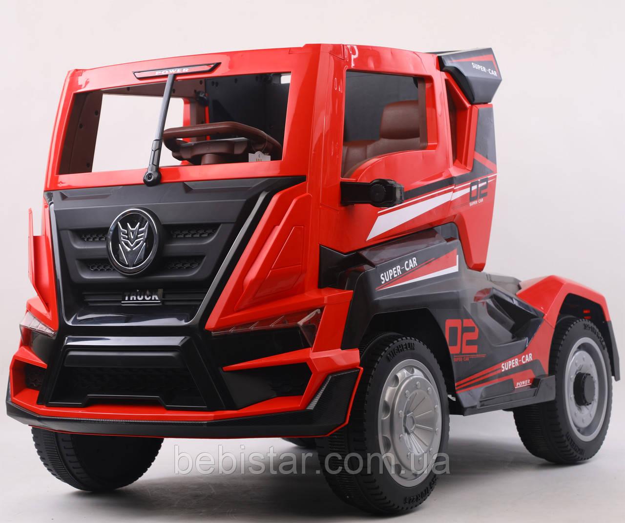 Детский электромобиль грузовик красный на EVA колесах с пультом и МР3 размер 128х70х76см