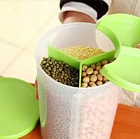 Банка пластиковая для сыпучих продуктов на 3 секции 17,5*13*13 (2.9 л.)