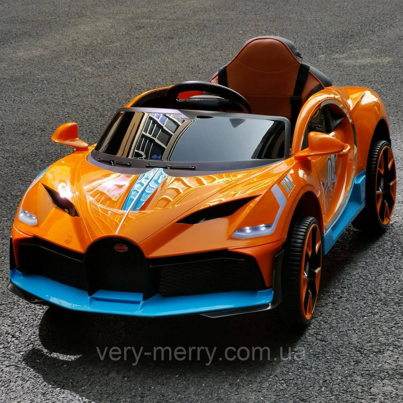 Детский легковой электромобильTilly Bugatti (оранжевый цвет) с пультом дистанционного управления