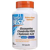 Для суставов и связок Doctor's Best Glucosamine Chondroitin MSM + Hyaluronic Acid, 150 капсул
