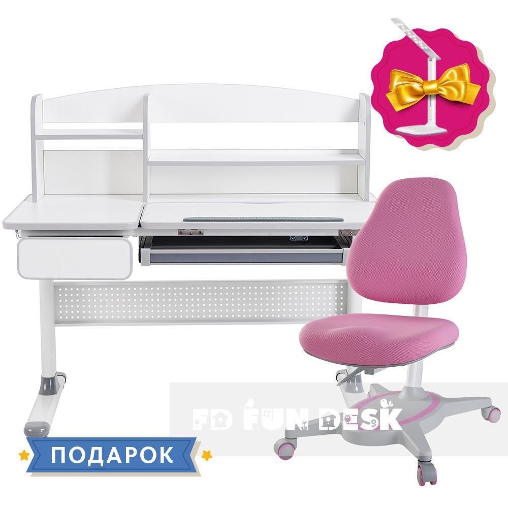Комплект парта для школьников Cubby Rimu Grey+детское кресло FunDesk Primavera I Pink