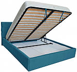 Кровать Richman Манчестер Comfort 140 х 190 см С подъемным механизмом и нишей для белья Голубая, фото 4