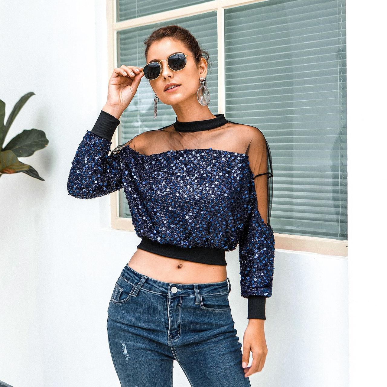 Блестящая блузка с прозрачными плечами 42-46 (в расцветках)