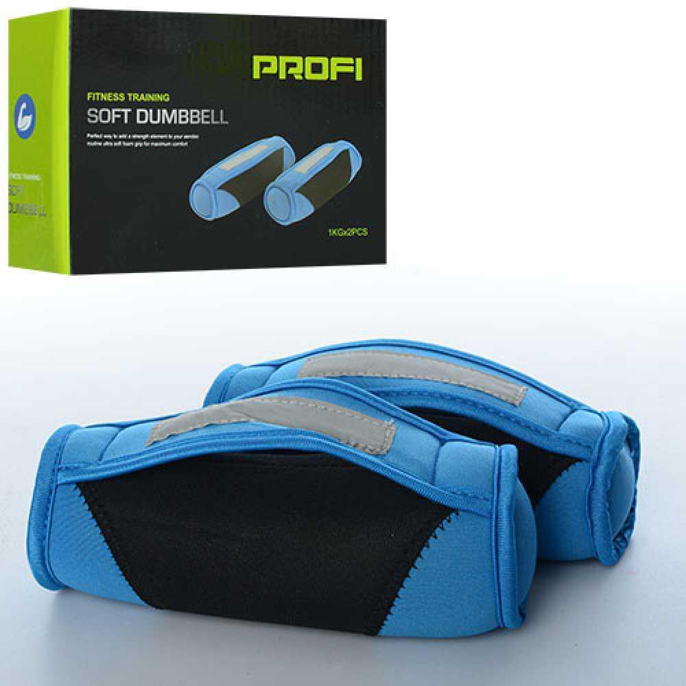 Гантели для фитнеса Profi MS 1476 тканевые, с песком, с ручками, 2 шт., по 1 кг