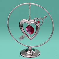"""Фигурка """"Кольцо стрела в 2-х сердцах"""" со стразами и камнями Swarovski (серебро)"""