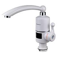 Кран-водонагреватель проточный NZ 3.0кВт 0,4-5бар для кухни гусак прямой на гайке с дисплеем AQUATICA