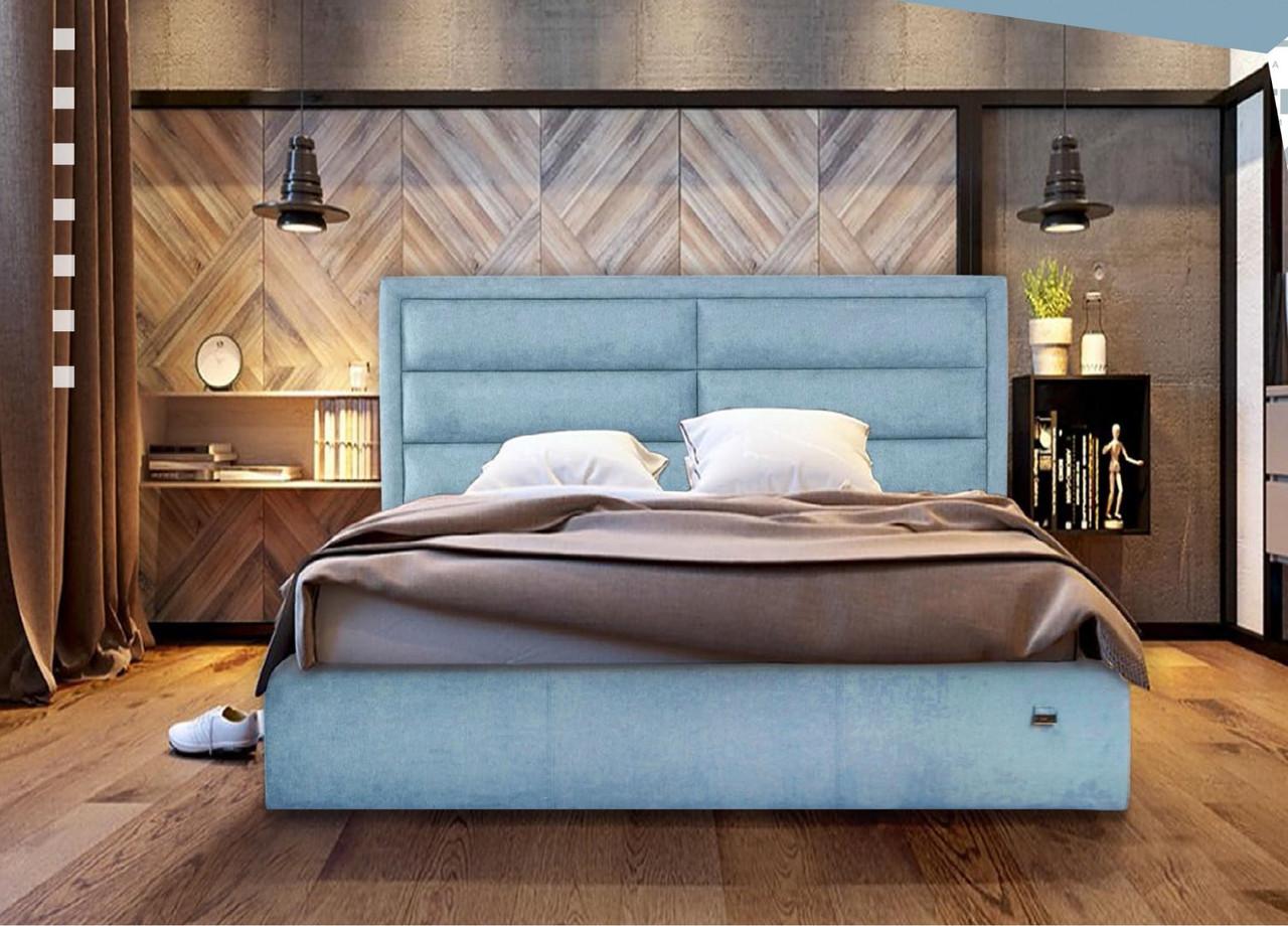 Кровать Orlando VIP 140 х 200 см Jeans С дополнительной металлической цельносварной рамой Синяя