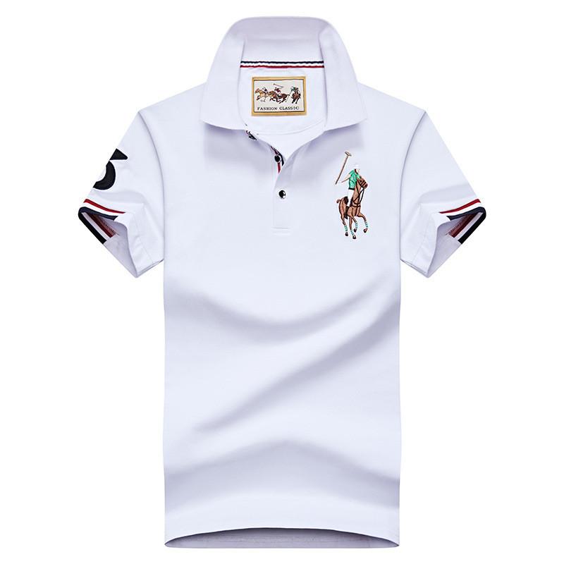 Разные цвета Мужская футболка поло хлопок премиум в стиле ральф лорен