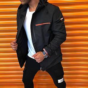 Мужская ветровка куртка с капюшоном Prada черная.Size S / L / XXL