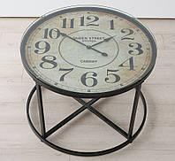 Столик кофейный Антик с часами h56см d80см, лофт дизайн комнаты