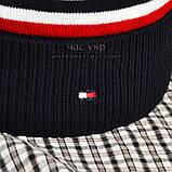 Мужской комплект набор вязаная шапка с бубоном и хомут шарф Tommy Hilfiger темно-синий Томми люкс реплика, фото 3