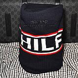 Мужской комплект набор вязаная шапка с бубоном и хомут шарф Tommy Hilfiger темно-синий Томми люкс реплика, фото 4