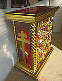 Церковна підставка під виносну ікону з різьбленням і позолотою, фото 2