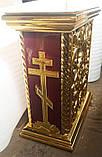 Церковна підставка під виносну ікону з різьбленням і позолотою, фото 5
