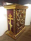 Церковна підставка під виносну ікону з різьбленням і позолотою, фото 4