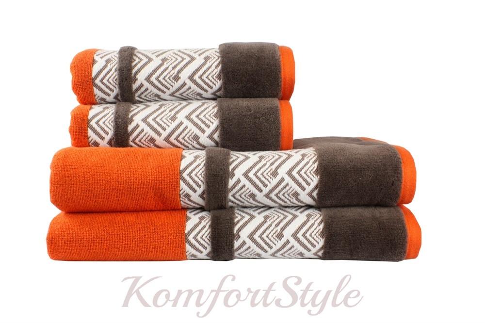 Полотенце HOBBY NAZENDE 50*90 оранжевый/ коричневый 560 г/м2