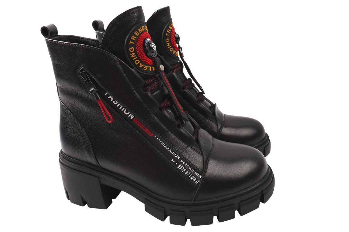 Ботинки женские зимние на платформе из натурально кожи, черные Erisses