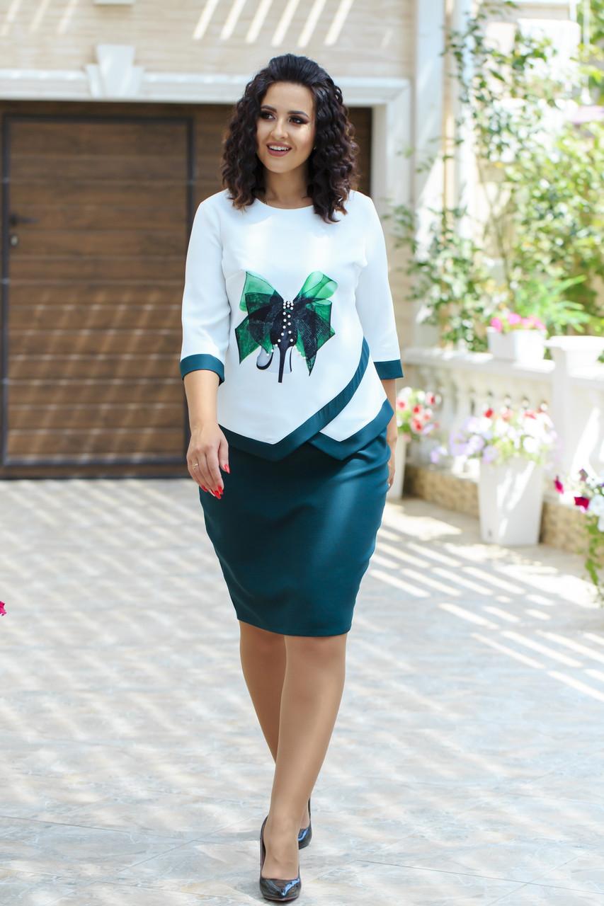 Женский красивый деловой костюм: блузка с оригинальной аппликацией и юбка-футляр, батал большие размеры