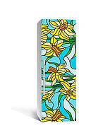 3Д наклейка на холодильник Нарциссы Витраж (самоклеющаяся виниловая пленка ПВХ) рисунок Цветы Желтый 650*2000 мм, фото 1