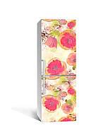 3Д наклейка на холодильник Акварельні маки (самоклеюча вінілова плівка ПВХ) Квіти Червоний 650*2000мм, фото 1