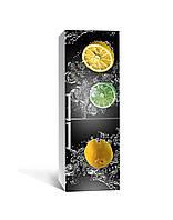 3Д наклейка на холодильник Лимоны и Лаймы в воде (самоклеющаяся виниловая пленка ПВХ) цитрусы брызги Фрукты Серый 650*2000 мм, фото 1