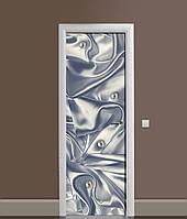 3Д наклейка на двері Ніжний Шовк Перли самоклеюча вінілова плівка ПВХ Текстура Синій 650*2000мм