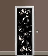 3Д наклейка на двері Мильні бульбашки вінілова плівка ПВХ сфери кулі Текстура Чорний 650*2000мм