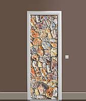 3Д наклейка на двері Кам'яна кладка вінілова плівка ПВХ камені стіна Текстура Коричневий 650*2000мм