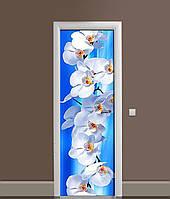 3Д наклейка на дверь Белые Орхидеи Макро самоклеющаяся виниловая пленка ПВХ цветы Голубой 650*2000 мм, фото 1