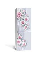 3Д наклейка на холодильник Розовые Георгины (ПВХ самоклеющаяся виниловая пленка) Цветы Серый 650*2000 мм, фото 1