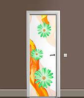 3Д наклейка на дверь Зеленые Цветы (ПВХ самоклеющаяся виниловая пленка) Шелк Оранжевый 650*2000 мм, фото 1