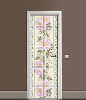 3Д наклейка на двері Велика Плитка Мальви ПВХ вінілова плівка квітковий Орнамент Бежевий 650*2000мм