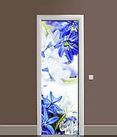 3Д наклейка на дверь Подснежники (ПВХ самоклеющаяся виниловая пленка) Цветы Синий 650*2000 мм, фото 1