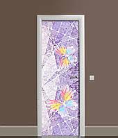 3Д наклейка на двері Барвисті Метелики ПВХ вінілова плівка під штукатурку Текстура Фіолетовий 650*2000мм