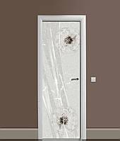 3Д наклейка на двері Кульбаба на вітрі ПВХ самоклеюча вінілова плівка Текстура Сірий 650*2000мм, фото 1