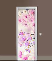 3Д наклейка на дверь Ирисы и Хризантемы ПВХ самоклеющаяся виниловая пленка Цветы Розовый 650*2000 мм, фото 1