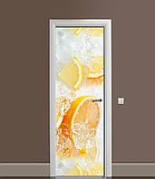 3Д наклейка на дверь Апельсины во льду (ПВХ самоклеющаяся виниловая пленка) цитрусы Фрукты Оранжевый 650*2000 мм, фото 1