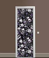 3Д наклейка на двері Бульбашки ПВХ самоклеюча вінілова плівка сфери вода Текстура Чорний 650*2000мм