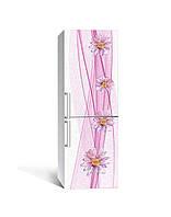 3Д наклейка на холодильник Вуаль (ПВХ самоклеющаяся виниловая пленка) цветы Абстракция Розовый 650*2000 мм, фото 1