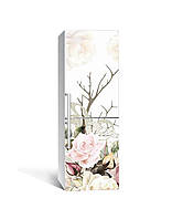 3Д наклейка на холодильник Пастельные Цветы (ПВХ самоклеющаяся виниловая пленка) розы ветки Бежевый 650*2000 мм, фото 1