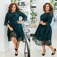Женское красивое нарядное стильное платье. Осенне класические коктельное полу батал чёрное бутылка