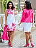 Женский красивый деловой костюм: платье с оригинальным принтом и жакет, супер батал большие размеры, фото 2