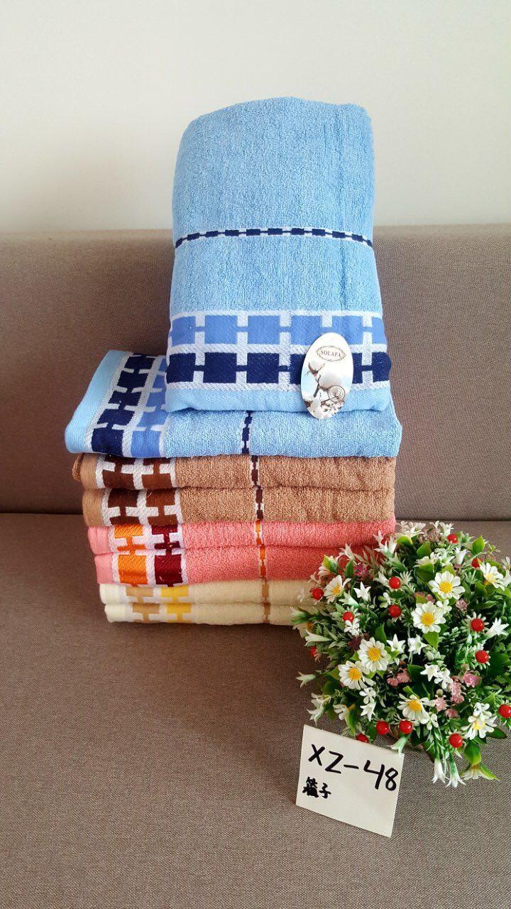 Лицевое полотенце махровое размер 50*100 квадратики микс
