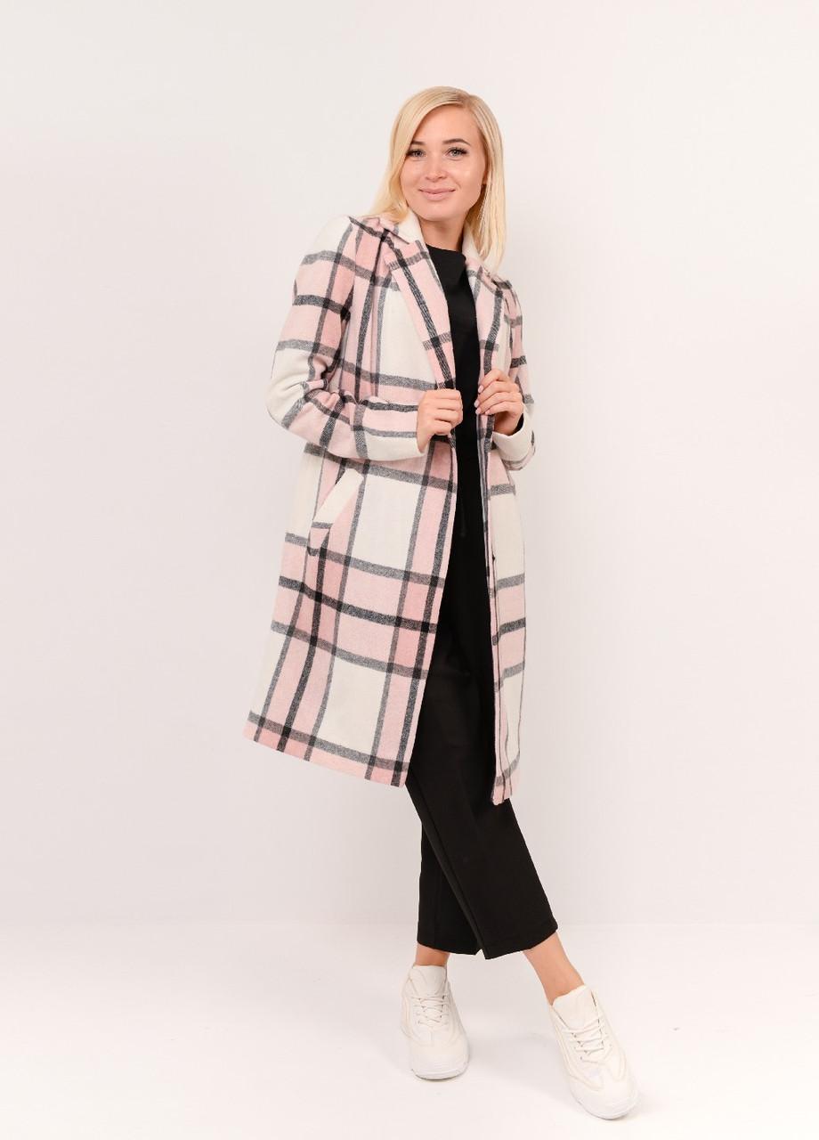 Розовое женское пальто в клетку 42-58рр.