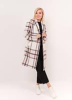 Розовое женское пальто в клетку 42-58рр., фото 1