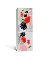 Декоративная 3Д наклейка на холодильник Ягоды Малина (виниловая пленка ПВХ) клубника ежевика Красный 650*2000