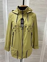 Женская куртка ветровка больших размеров горчичного цвета