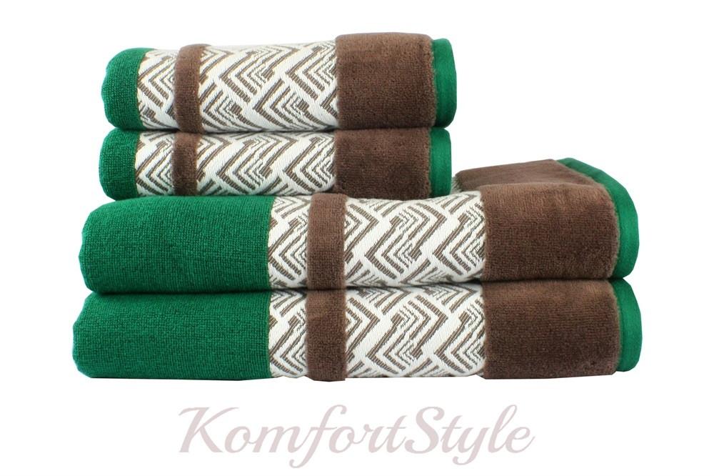 Полотенце HOBBY NAZENDE 70*140 зелёный/коричневый 560г/м2